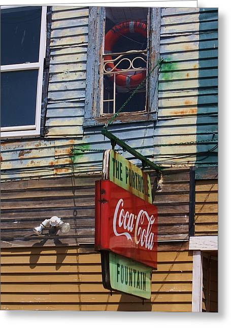 Wood Pier Framed Prints Greeting Cards - Coke Sign Greeting Card by Chuck  Hicks