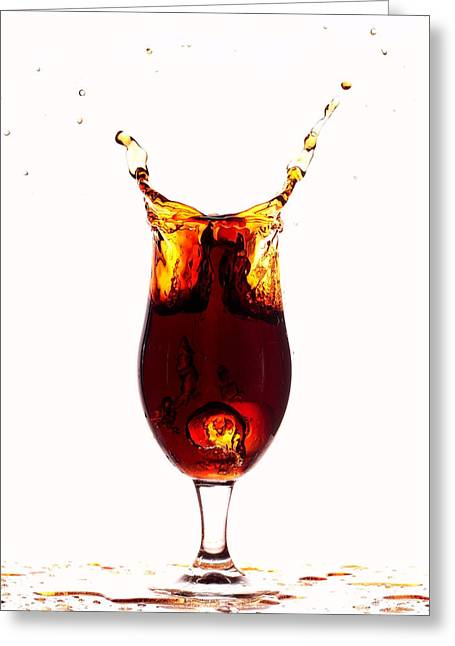 Sparkling Wines Digital Greeting Cards - Coke splashing in the cup liquid art Greeting Card by Paul Ge