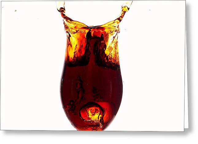 Coke splashing in the cup liquid art Greeting Card by Paul Ge