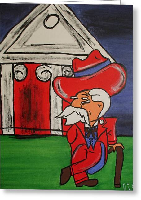 Mascots Paintings Greeting Cards - Col Reb Greeting Card by Lisa Collinsworth