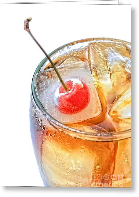 Carbonation Greeting Cards - Cola glass with fresh cherry Greeting Card by Marzia Giacobbe