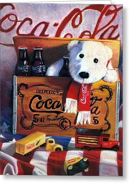 Baby Room Pastels Greeting Cards - Cola Toy Chest Greeting Card by JAXINE Cummins