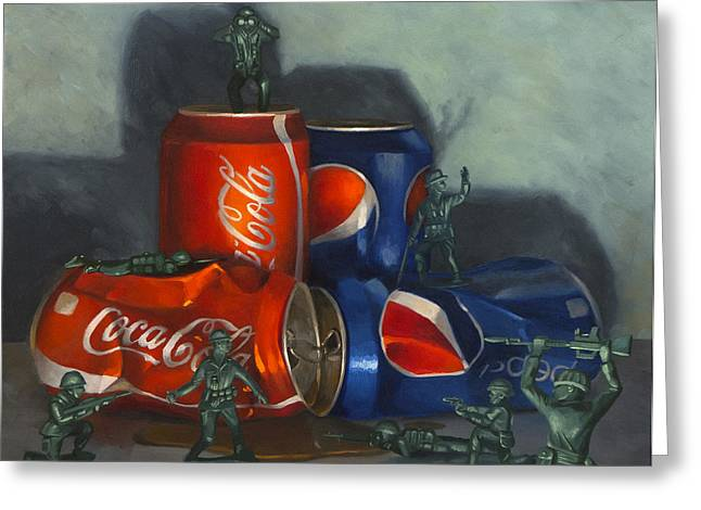 Photo-realism Greeting Cards - Cola Wars Greeting Card by Judy Sherman