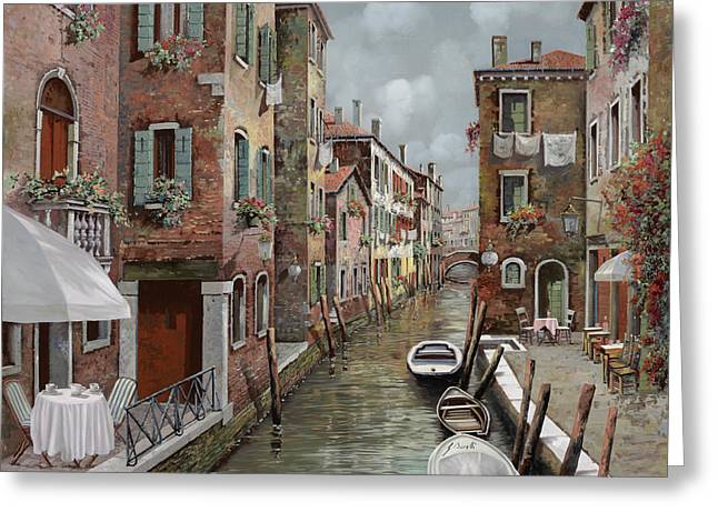 Dating Paintings Greeting Cards - colazione a Venezia Greeting Card by Guido Borelli