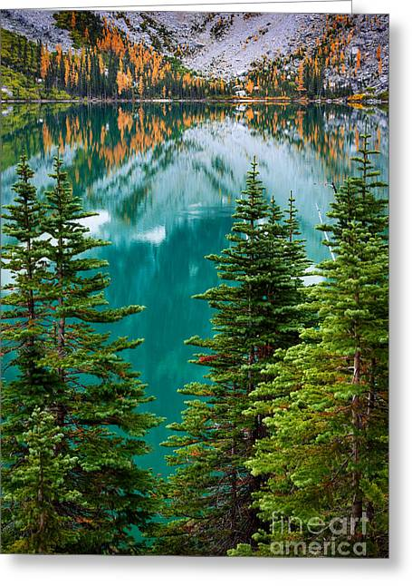 Deciduous Greeting Cards - Colchuck Reflection Greeting Card by Inge Johnsson