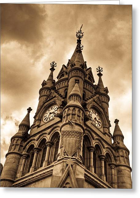 Stratford Greeting Cards - Colck Tower Stratford on Avon Sepia Greeting Card by Douglas Barnett