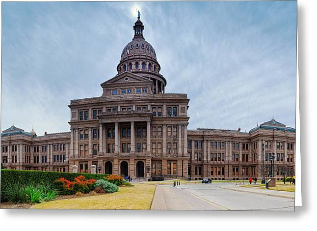 Congress Street Greeting Cards - Cold and Blustery Day at the Texas State Capitol Austin Ektachrome 64 Asymmetrical View  Greeting Card by Silvio Ligutti