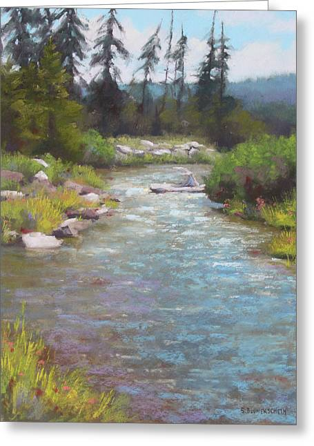 Oregon Pastels Greeting Cards - Cold and Clear Greeting Card by Sarah Blumenschein