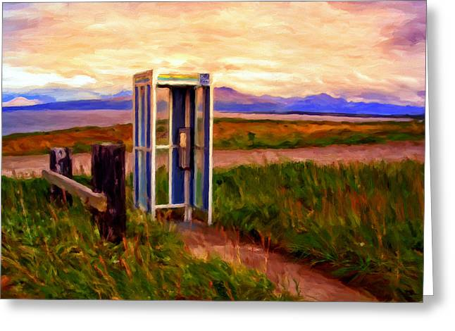 Telephone Booth Greeting Cards - Cold Bay Ferry Service Greeting Card by Michael Pickett