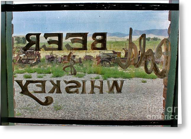 Saloons Greeting Cards - Cold Beer and Whiskey Sign Through Glass Pane Greeting Card by Janice Rae Pariza