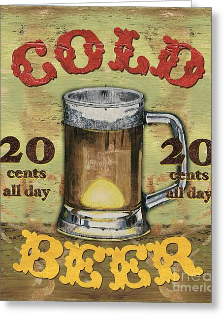 Antiques Sign Greeting Cards - Cold Beer Greeting Card by Debbie DeWitt