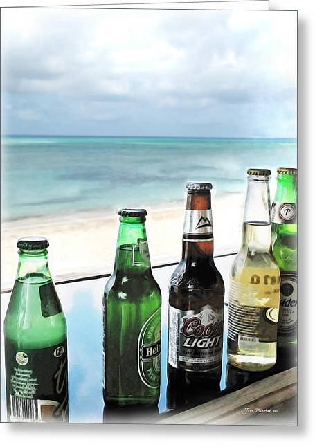 Bottle Cap Greeting Cards - Cold Beers in Paradise Greeting Card by Joan  Minchak