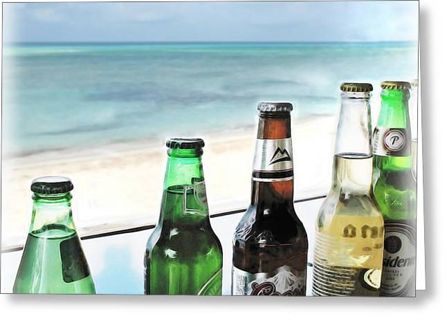 Cold Beers in Paradise Greeting Card by Joan  Minchak