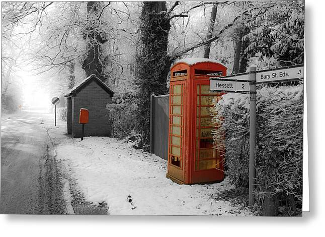 Busstop Greeting Cards - Cold Calling Greeting Card by Suffolk Photography
