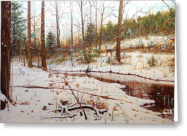 Fox Squirrel Paintings Greeting Cards - Cold Creek Arkansas Greeting Card by Mike Ivey