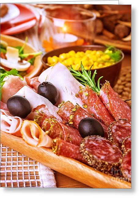 Delicatessen Meat Greeting Cards - Cold cuts Greeting Card by Anna Omelchenko