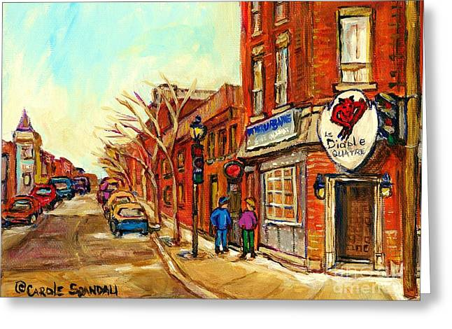 Verdun Food Greeting Cards - Cold Day In The Pointe Strolling By Taverne Urbaine Le Diable A Quatre Montreal Winterscene   Greeting Card by Carole Spandau