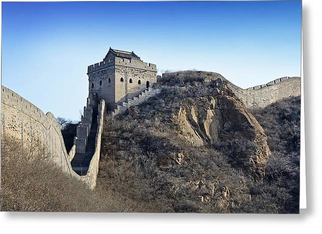 Watch Tower Greeting Cards - Cold day on the Great Wall of China Greeting Card by Brendan Reals
