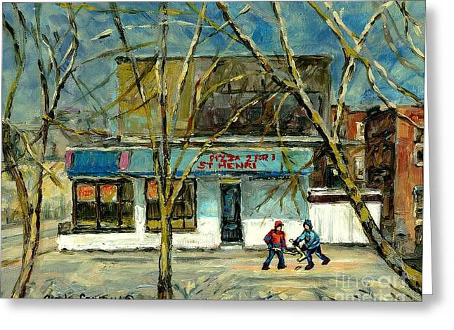 Verdun Pizza Greeting Cards - Cold Day St.henri Montreal Art Hockey Paintings Early Winter Rue Notre Dame Pizzeria Carole Spandau Greeting Card by Carole Spandau