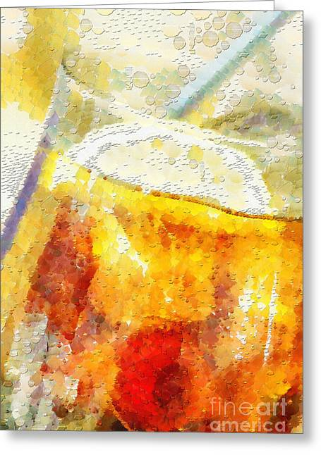 Fizz Paintings Greeting Cards - Cold drink with lemon and ice painting Greeting Card by Magomed Magomedagaev
