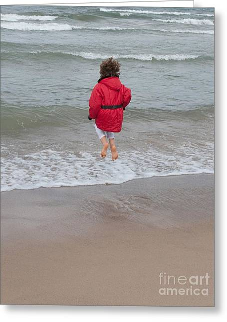 Indiana Dunes Greeting Cards - Cold Feet Greeting Card by Ann Horn