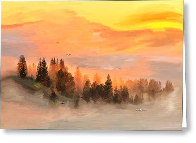 Cold Foggy Spring Morning Greeting Card by Angela A Stanton