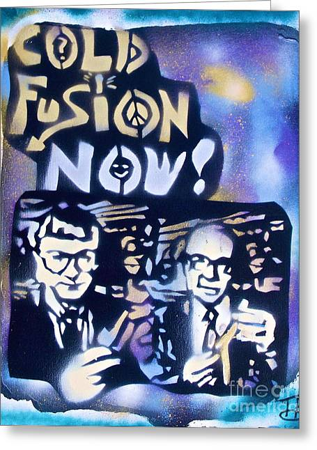 Free Speech Greeting Cards - Cold Fusion Now Blue Greeting Card by Tony B Conscious