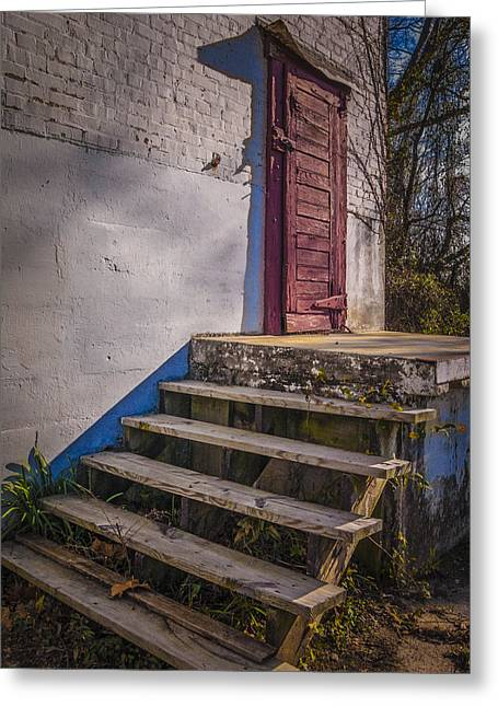 Wooden Platform Greeting Cards - Cold House Door Greeting Card by Jon Stephenson