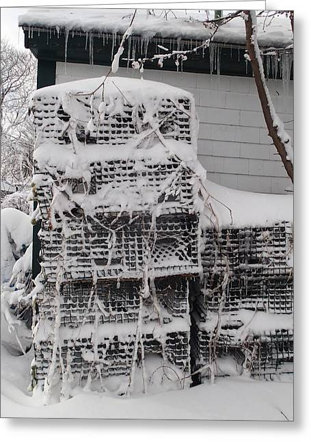 Snowstorm Posters Greeting Cards - Cold Lobster Trap Greeting Card by Robert Nickologianis