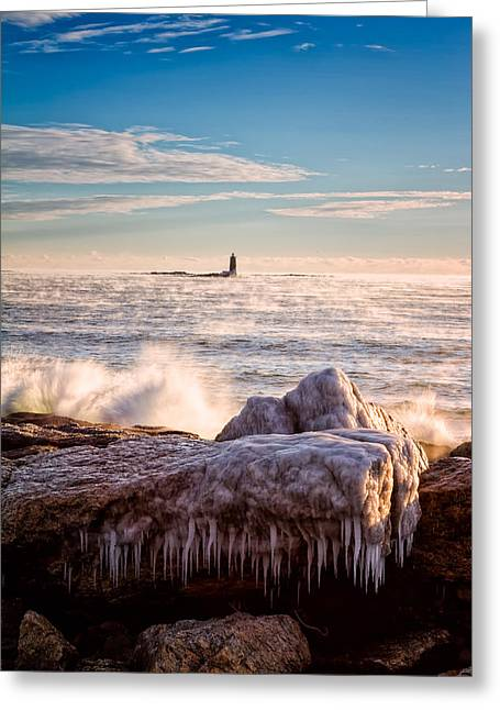 Historic Site Greeting Cards - Cold Morning Lighthouse Greeting Card by Jeff Sinon
