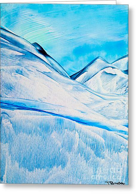 Scifi Paintings Greeting Cards - Cold Mountain 2 wax painting Greeting Card by Simon Bratt Photography LRPS
