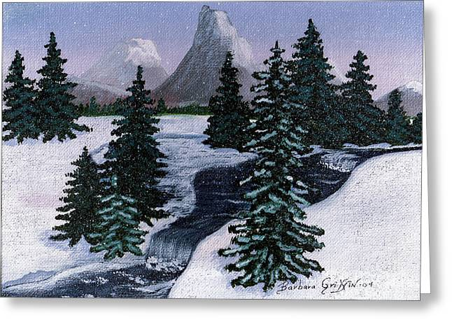 Babbling Paintings Greeting Cards - Cold Mountain Brook Greeting Card by Barbara Griffin