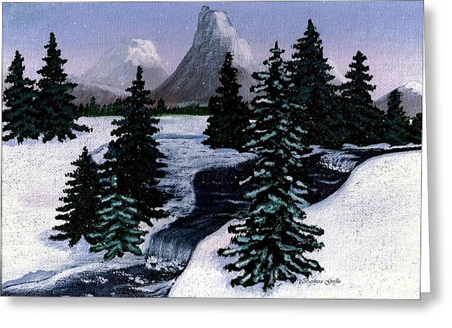 Cold Mountain Brook Painterly Greeting Card by Barbara Griffin