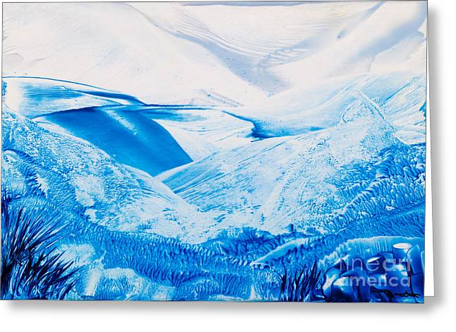 Scifi Paintings Greeting Cards - Cold Mountains wax painting Greeting Card by Simon Bratt Photography LRPS
