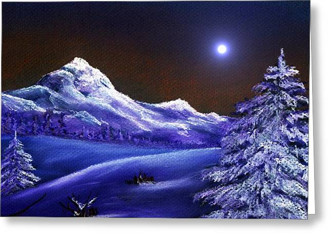Night Scene Prints Greeting Cards - Cold Night Greeting Card by Anastasiya Malakhova