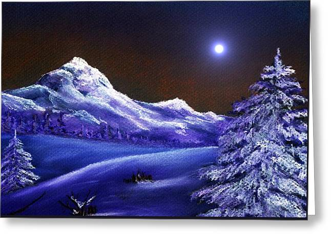 Snow Tree Prints Digital Greeting Cards - Cold Night Greeting Card by Anastasiya Malakhova