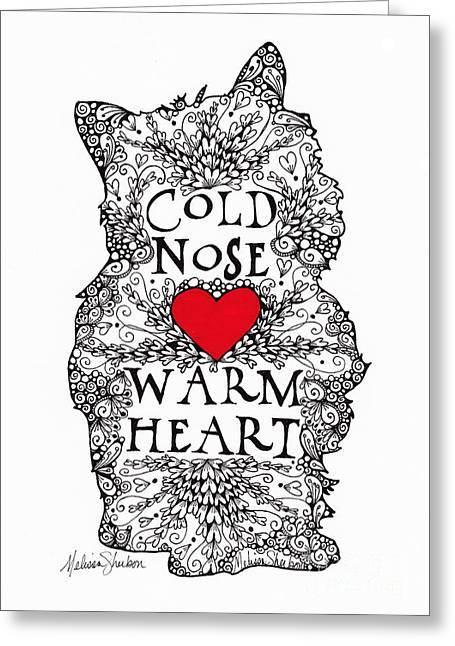 Puppies Drawings Greeting Cards - Cold Nose Warm Heart Greeting Card by Melissa Sherbon