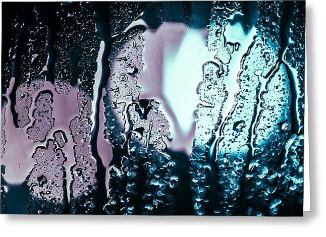Rain Streaked Window Greeting Cards - Cold Rain Greeting Card by Jason Little
