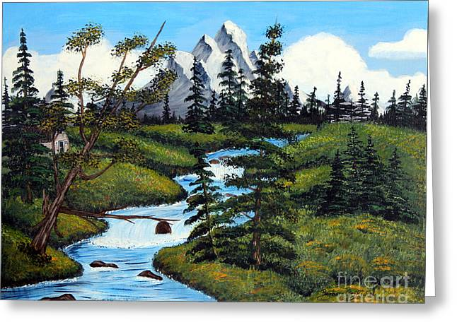 Bob Ross Paintings Greeting Cards - Cold Rattling Brook  Greeting Card by Barbara Griffin