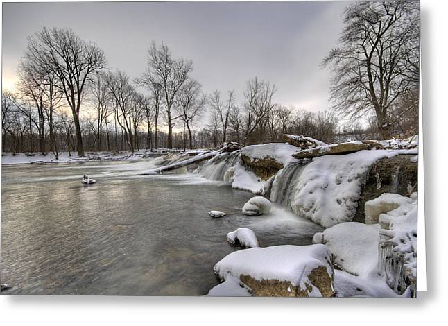 Indiana Winters Greeting Cards - Cold River Greeting Card by Alexey Stiop