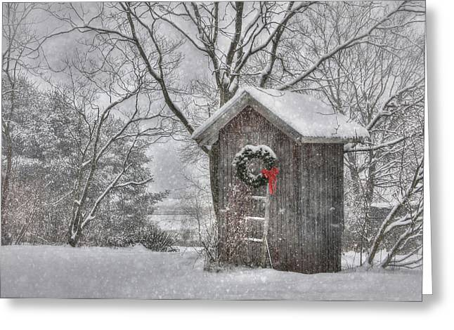 Seated Digital Art Greeting Cards - Cold Seat Greeting Card by Lori Deiter