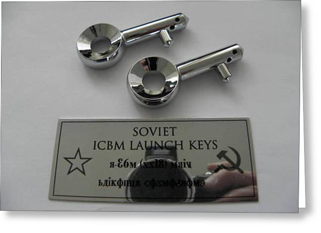 Cold Jewelry Greeting Cards - Cold War Doomsday Soviet ICBM Nuclear Launch Keys Greeting Card by Leading Seaman Jerry Caldwell USN