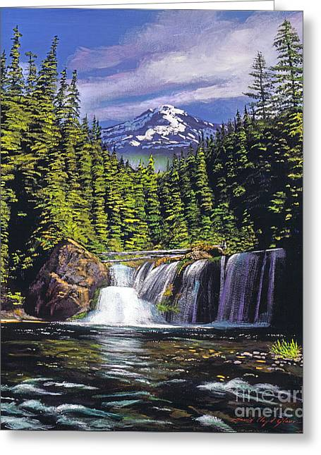 Pines Greeting Cards - Cold Water Falls Greeting Card by David Lloyd Glover
