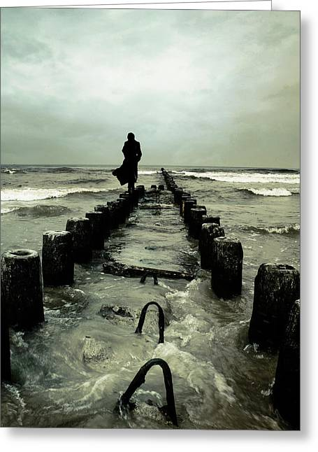 Mysterious Greeting Card featuring the photograph Cold Waves by Cambion Art