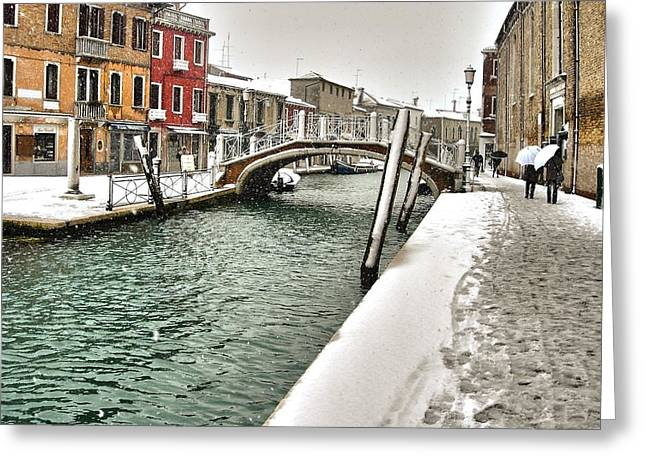 Greeting Card featuring the photograph Cold Winter In Venice by Thierry Bouriat