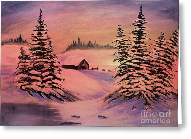 Snow Drifts Digital Art Greeting Cards - Cold Winter Sunset Greeting Card by Barbara Griffin