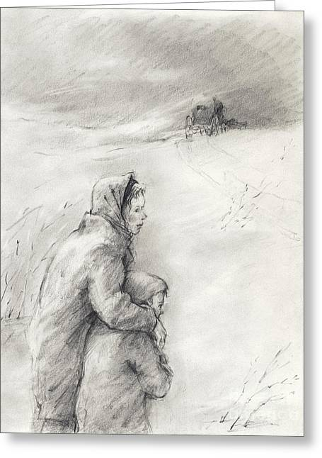 Winter Roads Drawings Greeting Cards - Cold Winter Greeting Card by Youri Ivanov