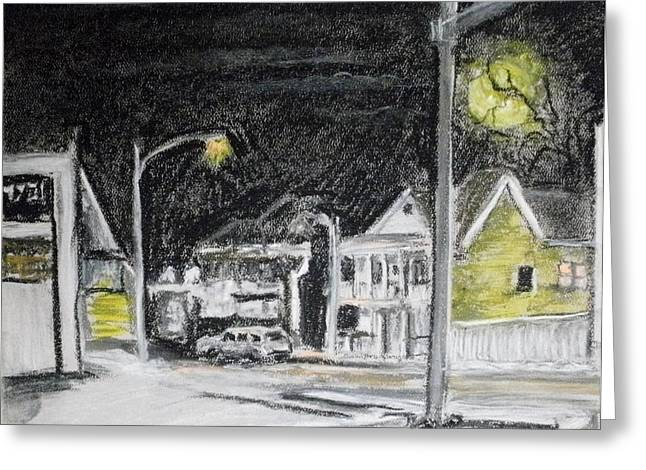Night Lamp Pastels Greeting Cards - Cold winters nite Greeting Card by Tim  Swagerle