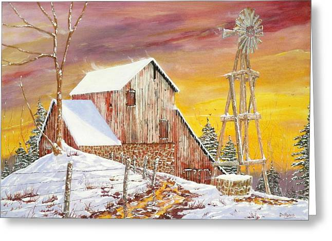Old Barns Greeting Cards - Texas Coldfront Greeting Card by Michael Dillon
