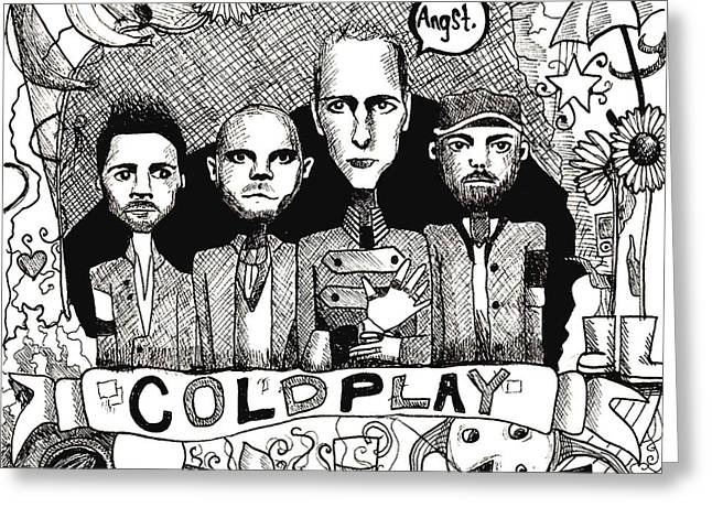 Coldplay Greeting Cards - Coldplay Is All Yelow Greeting Card by Rachel Faye Elliott